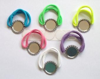 Nylon Stretch Flattened Bottle Cap Bracelet Kit, Nylon Stretch Flattened Bottle Cap Bracelets with Epoxy Stickers, Bottle Cap Bracelet Kit
