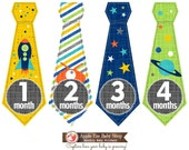 FREE Baby Monthly Bodysuit Sticker Monthly Baby Tie Stickers Baby Boy Month Milestone Stickers Blue Green Martian Rocket Space Planet 035T