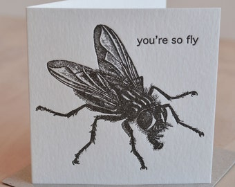 Letterpress, Valentine's Day card, nearly love, card for him, romantic  'You're so Fly' punny- all occasion, black & white made in Australia