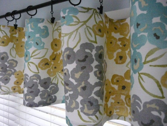 Turquoise Grey Flat Curtain Yellow Gold Valance Or Runner