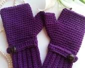 Crochet fingerless gloves in plum purple, wrist warmers-Winter Gloves