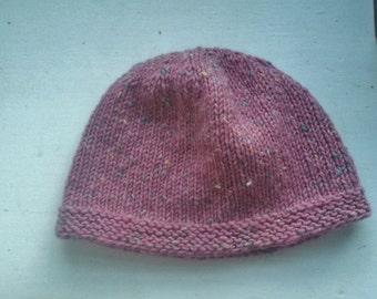 Lovely Fleck Wool Pink Winter Hat Rustic Folk Hippy Small Medium