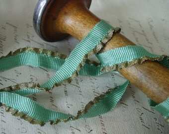 ANTIQUE Silk and Metallic Gold Lettuce Edge dusty aqua ribbon, new old stock, one yard - LOVELY