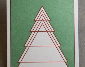 Geometric Evergreen Tree Letterpress Card