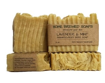 Beer Soap, Beer Shampoo, Body Soap for Women, Lavender & Mint Beer Soap, Shampoo Beer Soap