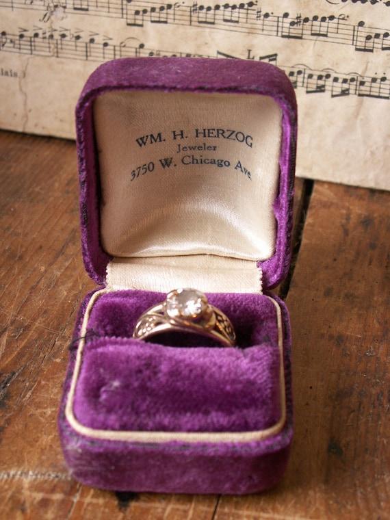 Vintage Purple Velvet Ring Box Great Valentine S Gift