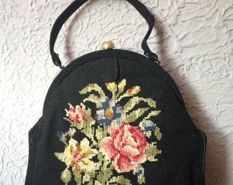 50's Vintage Black Rose Needlepoint Purse