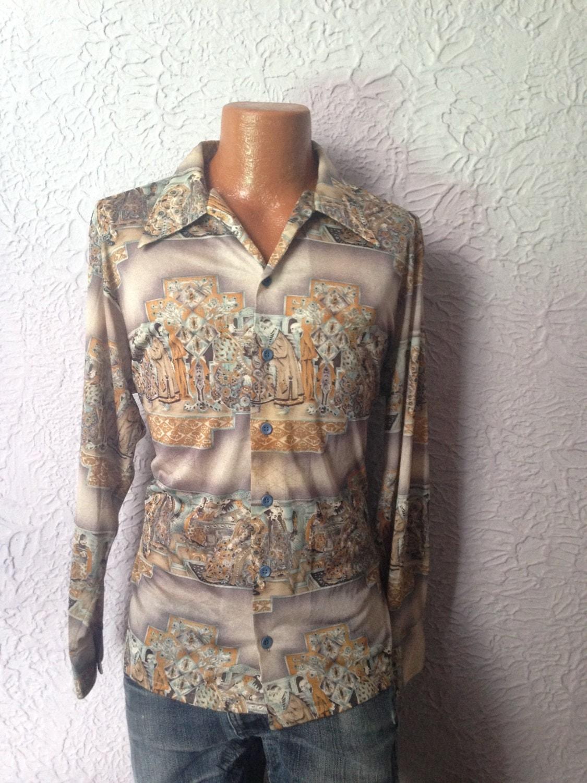 70's Vintage Men's Disco Shirt Ancient Kingdoms by PaisleyBabylon