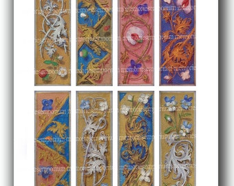 Bookmarks Medieval Renaissance Flower Panels for DIY Floral Book Marks Bibliophiles Book Lovers Paper Decoupage Printable Download 630