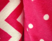 Pink Chevron Stripes and Polka Dot Stroller Blanket - Personalization Available