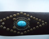 Vintage brown leather belt with turquoise stones and copper