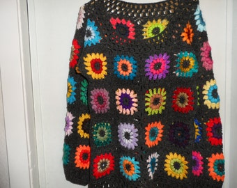 Crochet multicolour kaleidoscope puff stitch flowers gipsy hippie boho gray unisex sweater OOAK Ready to ship!
