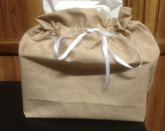 Tan - Tissue Box Cover - Cotton - Home Decor - Furnishings - Accesories - Burlap Decor - Novelty - Burlap Look Tissue Box Cover Case