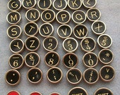 "Full set (47) authentic vintage typewriter keys incl. 'Seft Starter"" key"