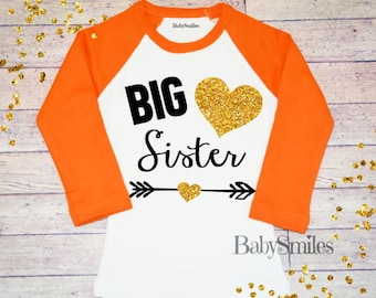 Big Sister Shirt Little Sister Shirt Personalized Shirt Sibling Shirts Baby Announcement Shirt Pregnancy Announcement Gold Glitter Shirt 123