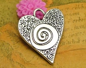 10 pcs Antique Silver Heart Charms Double Sided 30x25mm CH2173