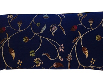 Silk Eye Pillow, Cobalt Blue, Flax Lavender Pillow Aromatherapy Yoga Gift Natural Holistic Herbal Headache Relief , Depuffer Relaxation