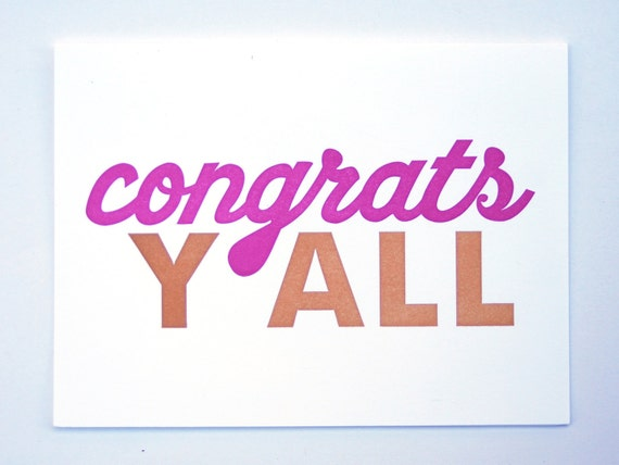 Items similar to Congrats Y'all Letterpress Card on Etsy