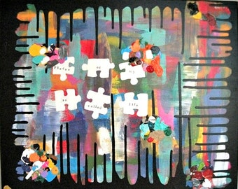 "Abstract Painting Abstract Art Original Acrylic Abstract Painting 16"" x 20""  - ""Pieces"""