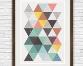 Geometric print, Retro wall art,  Mid century modern art, minimalist wall art, abstract print, abstract poster, colorful triangle print,