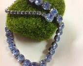 Dazzling Blue vintage Rhinestone Necklace