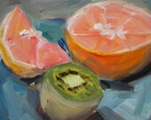 Original Oil Painting Still Life - Fruit Painting - Small art - fine art kitchen - Modern art oil - Wall Decor - Impressionist - pink green