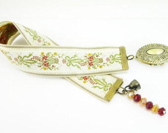 Victorian Flowers, Ribbon Bookmark, Vintage Style, Oval Photo Locket, Bronze Tea Kettle, Red and Yellow Rondelles