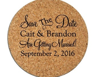 200 Wedding Announcements Custom Cork Coasters Save the Date Cards