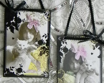 Girl with White Persian Cat Set of Two Feline Fancy Decorative Wall Plaques Signs