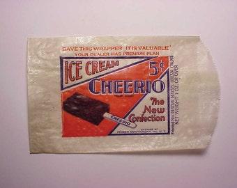 c1930s Cheerio 5c Ice Cream The New Confection Frozen Confections Inc. New York, Ice Cream Wrapper