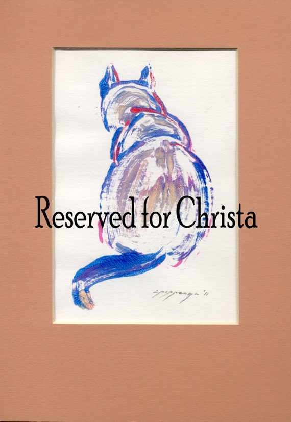 SPECIAL OFFER Sitting cats created in a gestural style is subject of these small original hand-pulled monotype prints