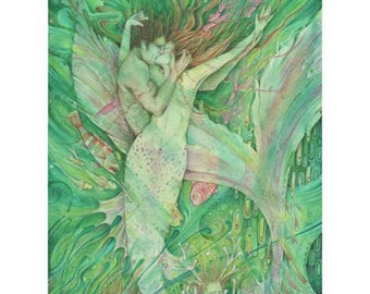 The Mermaid and the Sailor original watercolor painting of a mermaid and her lover