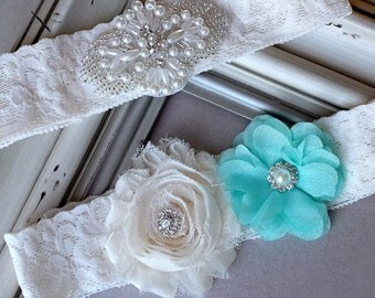 Wedding Garter Bridal Garter TEAL BLUE Garter Set Lace Garter Ivory Rhinestone Crystal Center Garter Beach Wedding GR116LX