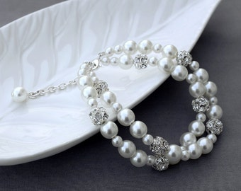 SALE Bridal Pearl Rhinestone Bracelet Double Strands Bracelet Crystal Wedding Jewelry White or Ivory BL066LX