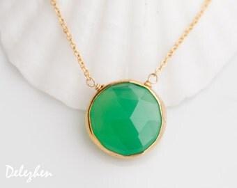 Chrysoprase Necklace - 14k Gold Filled Chain - bezel set necklace - gemstone necklace - Gold necklace