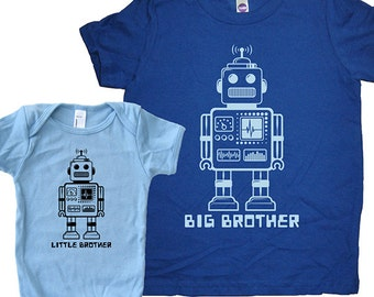 Big Brother Shirt / Little Brother Matching Shirt Set - Brothers T Shirt Gift Set - Baby Shower New Baby Present  Robot Big Brother Twinning