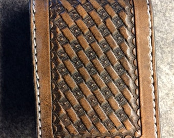 Handtooled Bifold Wallet with Diamond Basketweave Pattern