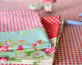Shabby Chic Laundry Bag. LAST ONE Lingerie Bag. Large. Roses and Gingham. Red Blue Picnic