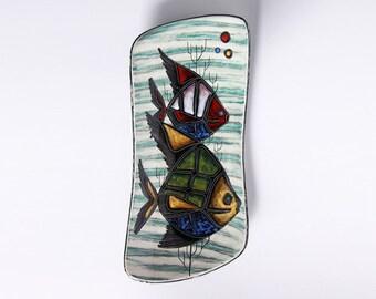 Mid Century Large Italian Art Pottery Hand Painted Wall Plate Fish Motive -  50s