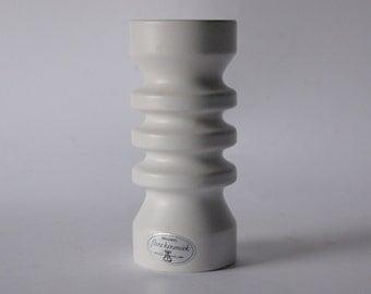 Vintage Modernist White Matte Vase - Flora, Netherlands 1980s