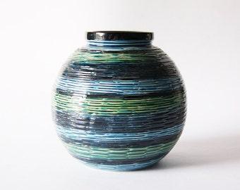 Vintage Bitossi Blue Globe Vase Stripes Pattern  - Rimini Blu Aldo Londi