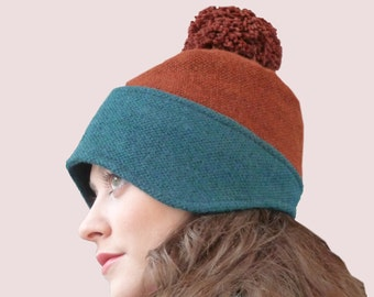 Ski Bunny Cashmere Blend Beanie in Teal Green & Rust Brown Color Block Knit with Pompom, Earphone Friendly