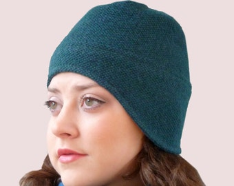 Aviator Teal Green Beanie with Earflaps in Ocean Colored Knit, in Textured Wool and Cashmere Blend