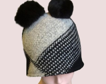 Teddy Bear Beanie Cap in Black and White Plaid Chunky Knit with Rabbit Fur Double Pompoms, Wool & Cashmere