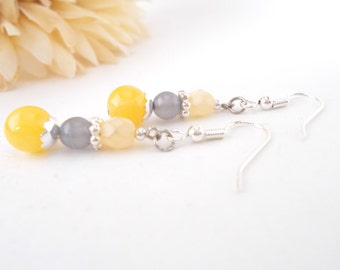 Sunshine Yellow Bridesmaids Earrings, Girlfriend Gift, Lemon Yellow Light Gray Earrings, Clip On Earrings, Czech Glass Beaded Earrings