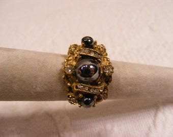 Vintage Adjustable Hematite and Rhinestone Statement Ring