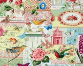 Michael Miller Menagerie Collage Multi cotton fabric - quilting, apparel, butterflies, floral, paris