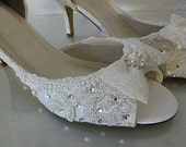 Lacey Wedding Shoes .. Low Heel Shoes .. Custom Made Bridal Shoes .. White or Ivory .. Swarovski crystals ..FREE postage within the USA