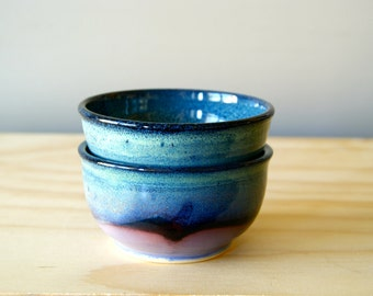 Single Serving Bowl, Lavender/Black/Blue by RiverStone Pottery