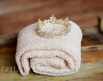 Newborn Wrap Set, Gold Baby Crown, Newborn Photo Prop Girl, Gold Crown, Neutral Prop, Natural Wrap, Strech Baby Wrap, Boy Photo Prop